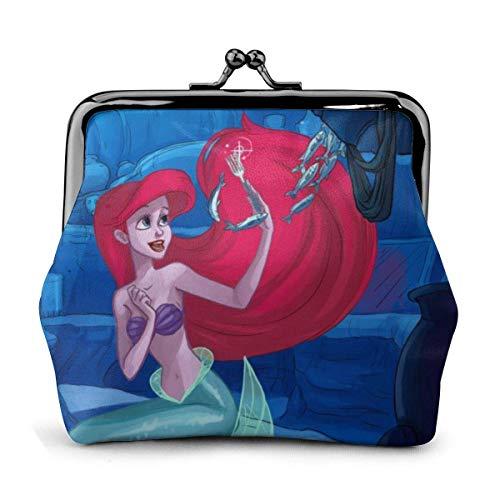Die Meerjungfrau Ariel und die Gabel Coin Purse Wallet Geldbörsen Kreditkarten Pouch Lock Exquisite Schnalle Make Up Handy ändern