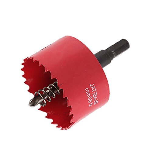 Xpork 60mm M42 Bi-Metal Hole Saw Holesaw Cut Arbor Pilot Drill Bit Wood Plastic w/Rod Red