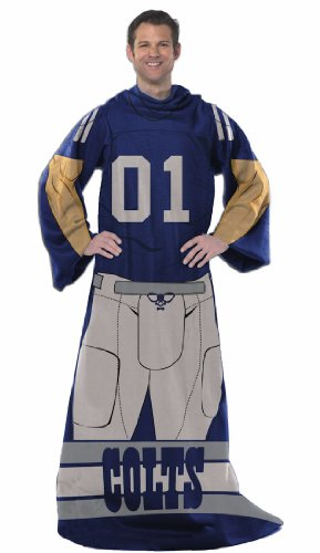 NFL Indianapolis Colts Adult Comfy Throw Blanket with Sleeves, 48