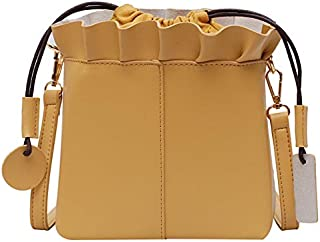 TOOGOO New Wave Fashion Single Shoulder Messenger Bag Korean Version Of The Simple Wild Bucket Bag Yellow