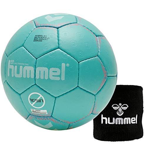Hummel Kinder Handball Kids 091792 Größe 00/0/1 im Set mit Schweißband Old School Small Wristband 99015 (schwarz) (Blue/Orange (7771), 0)