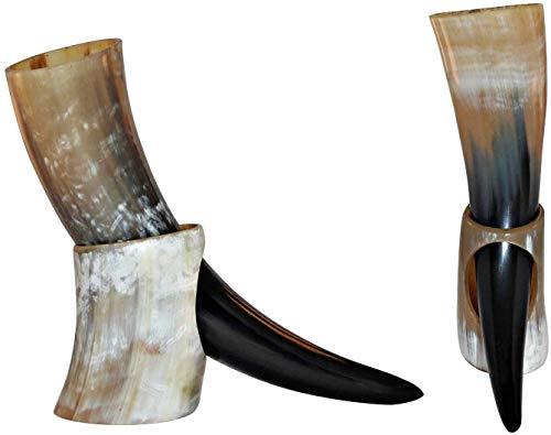 Bhartiya Handicrafts Taza vikinga de Cuerno para cerveza, Mead, Ale, cerámica inspirada en la medieval, con soporte (taza de avión, 4 unidades, tamaño grande, 4 unidades)