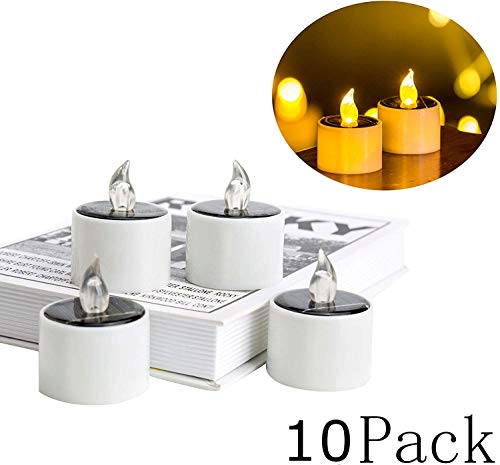 10 Pieces Solar Lantern Tea Lights Candles - Electronic Solar LED Lamp Nightlight - Plastic Flameless Solar Energy Candle for Outdoor Camping Emergency
