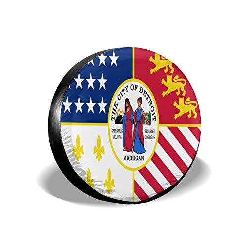 GOSMAO Bandera de la Ciudad de Detroit, Michigan, Impermeable, Protector Solar, Cubierta Ajustable para neumáticos, Adecuada para vehículos Todoterreno, remolques, Cubiertas de Ruedas de 16 Pulgadas