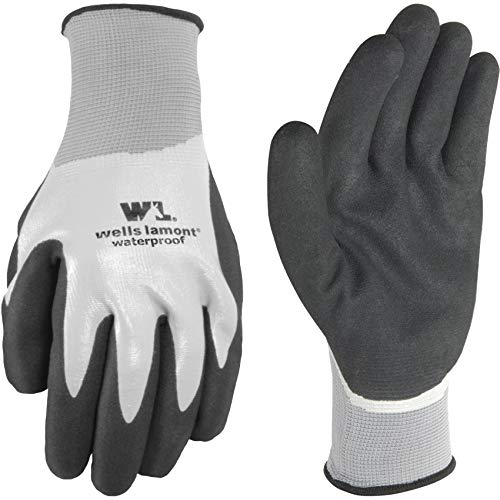 Men's Waterproof Work Gloves with Latex Double Coating, Gray and Black , Large (Wells Lamont 568L )