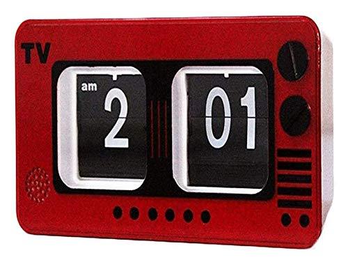BFBZ Retro TV Digital tirón Reloj Home Decor Pared Escritorio y Estante Relojes Televisión Auto Flip Reloj de Engranajes internos de operación 1023