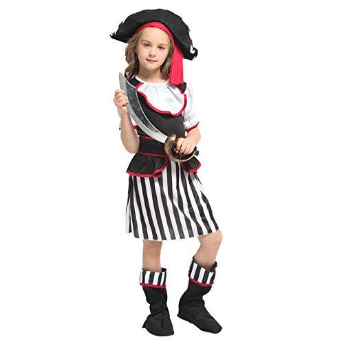 lkouq Halloween Pirata del Caribe Capitán Jack Sparrow Tricornio Disfraz De Cosplay para Niños Chica Party Cap Dress Up L G-0325