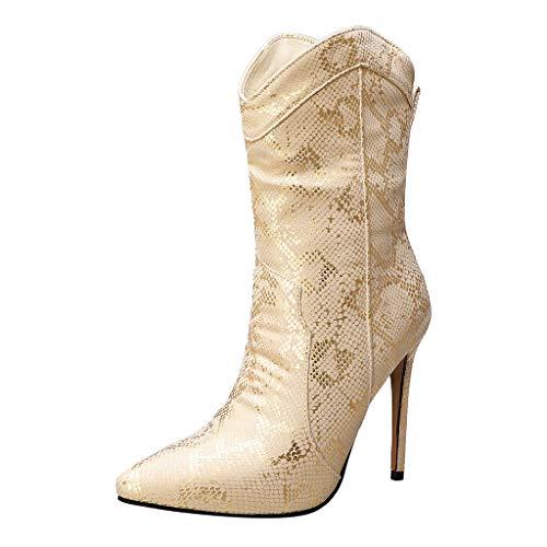 Damen Snake Pattern Leder Stiefel Stiletto Reißverschlüsse Slip-on Booties Stiefel mit hohen Absätzen Schuhe(37 EU,Gold)