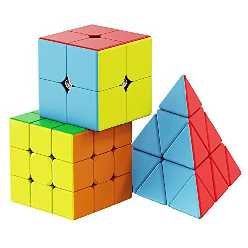 Vdealen Cubos de Velocidad, Professional Speed Cube Set con 2x2 3x3 Pirámide Cube de Stickerless, 3-en-1 Qiyi Cube Pack
