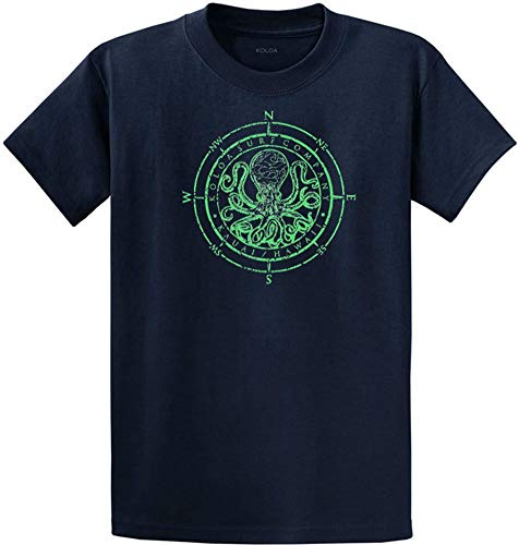 Joe's USA Koloa Surf Octopus Logo Mens Heavy Cotton T-Shirt-Navy/Green-L