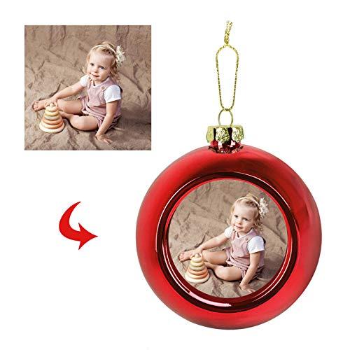 Bola de fotos personalizada para decoración de árbol de Navidad con bolas para colgar fotos, decoración del hogar, imagen personalizada, colgante de bola, regalos para boda, fiesta de cumpleaños