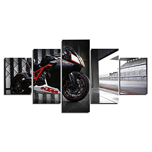 QZWXEC Ducati Superbike/Cuadro En Lienzo 5 Piezas Decoración de Pared Sala Estar Dormitorio DecoracióN del Hogar Cuadro Pintura Arte Cartel Pared - Marco - Tamaño(150x80cm)