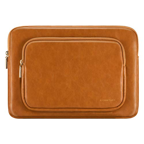 Comfyable Laptop Sleeve Compatible with 13-13.3 Inch MacBook Pro & MacBook Air, Faux Leather Protective Computer Case for Mac with Accessory Pocket, Brown