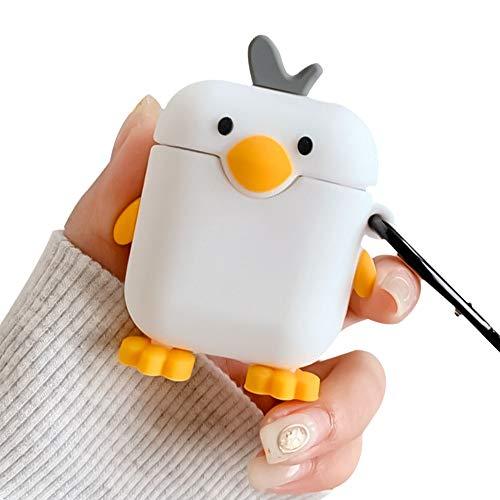 Ownest Kompatibel mit AirPods Hülle mit Mädchen Jungen Niedliche Ente 3D Cartoon Hülle mit Schlüsselanhänger Weiches Silikon Stoßfest Kein Staub AirPods Cover Hülle für Airpods 2 und 1-White Duck