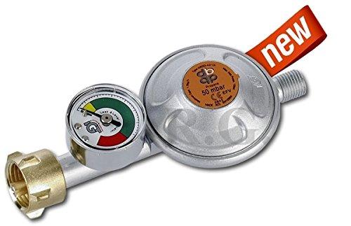 Unbekannt Gasschlauch Druckminderer Regler Manometer 50mbar Propangasschlauch 3 Größen (Regler mit Manometer)