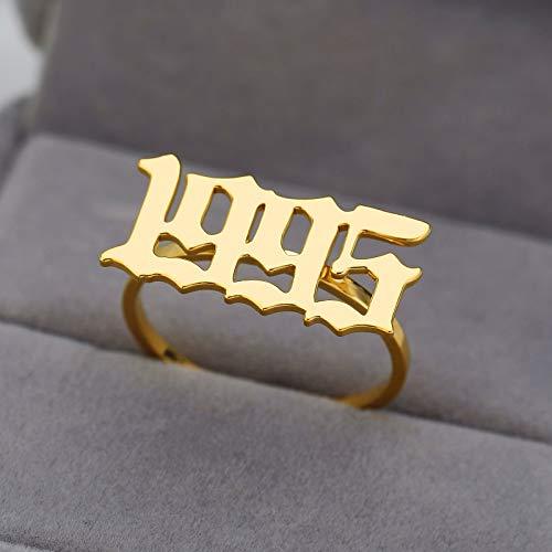 LYLLXL Offene Ringe Für Damen,Vintage Einstellbare Open Golden Edelstahl Geburtsjahr Anzahl -1995 Weihnachten Geschenk Schmuck Für Hochzeit Verlobung Party Frauen Männer Paare