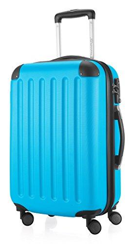HAUPTSTADTKOFFER - Spree - Handgepäck Hartschalen-Koffer Trolley Rollkoffer Reisekoffer Erweiterbar, TSA, 4 Rollen, 55 cm, 42 Liter, Cyanblau