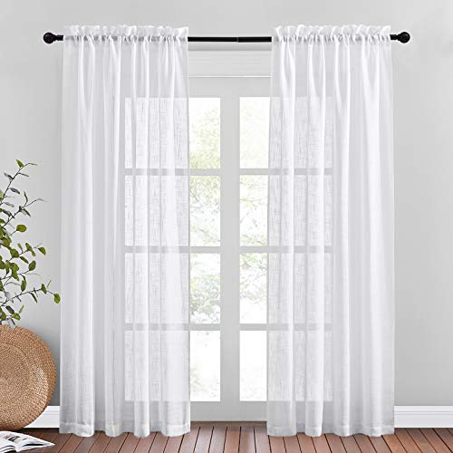 """NICETOWN Linen Sheer Curtains 84"""" Length for Bedroom, Pocket Top Privacy with Light Penetration Semi Sheer Linen Drapes for Living Room, White, 52"""" W, 1 Pair"""