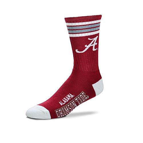 For Bare Feet Mens NCAA 4 Stripe Deuce Crew Socks, Alabama Crimson Tide, Medium (5-10)