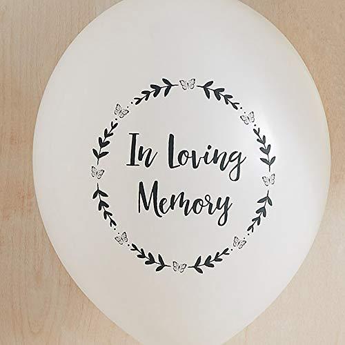 ANGEL & DOVE Beerdigungsballons In Loving Memory, hochwertig, 100 % biologisch abbaubar, für Gedenkfeier, Feier des Lebens, Weiß, 25 Stück