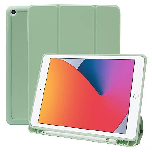 MS factory iPad 10.2 ケース 2020 第8世代 2019 第7世代 アイパッド iPad8 iPad7 カバー Apple Pencil 収納 耐衝撃 スマートカバー ソフト TPU オートスリープ ペンシルホルダー ティーグリーン 緑 IPD-7-S-HDR-GRN
