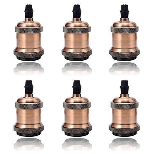 GreenSun LED Lighting 6 Pack E27 Vintage Ampoule solide céramique douille Support de lampe Rétro Edison Vis Ampoule adaptateur Socket, Laiton Antique Rouge