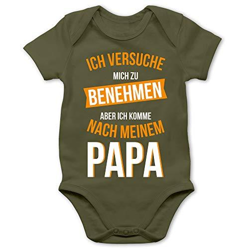 Shirtracer Sprüche Baby - Ich versuche Mich zu benehmen Papa orange - 3/6 Monate - Olivgrün - Body Madchen lustig - BZ10 - Baby Body Kurzarm für Jungen und Mädchen