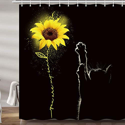 JAWO Sunflower and Cat Shower Curtains for Bathroom, Yellow Flower Quote You are My Sunshine Bath Curtain Set, Floral on Black Art Fabric Bathroom Accessories Decor 12 Hooks Included (69' W X 72' H)