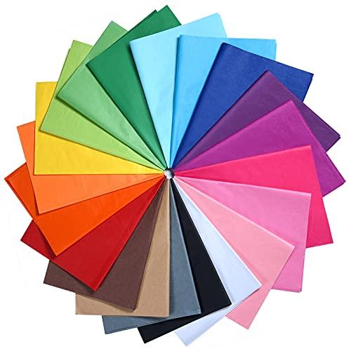 MIAHART 60 Blatt farbiges Seidenpapier Bulk 35x50cm Geschenkpapier 20 verschiedene Farben Kunst Seidenpapier für Kunsthandwerk Blumengeburtstagsfeier Festival Dekorativ