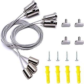 Qiwenr 4Pcs Juego de Cable de Suspensión de Acero Inoxidable,Kit de Luces para Exteriore Kit de Suspensión de Cuerda 1.5MM*1M,para Colgar Cuadros Cartelera Panel LED o Luces de Bricolaje,Máximo 20 kg