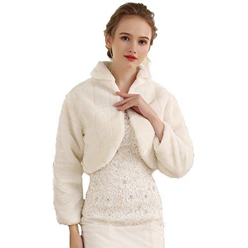 Unbekannt Brautjacke Bolero Fell Weiß Ivory Pelz NEU Hochzeit Wedding Bridal Kunstpelz Cape (42 bis 46, Ivory)