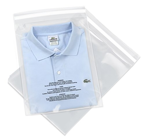 """Spartan Industrial - 11"""" X 14"""" (1000 Count) Self Seal Clear Poly Bags with Suffocation Warning for Packaging, T Shirts & FBA - Permanent Adhesive"""