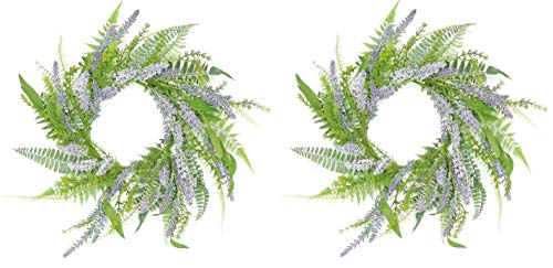 Pair! Lavender & Fern Wreath 14' Wreath or Candle Ring