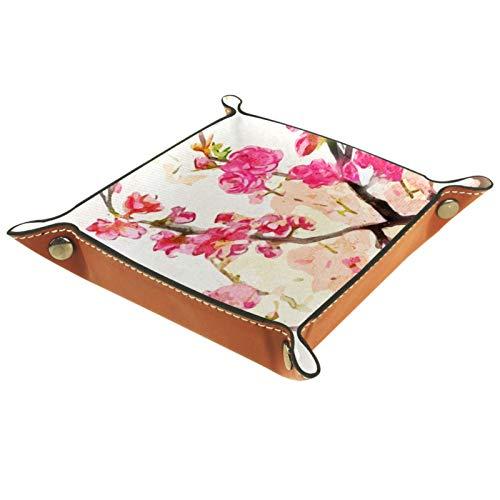 XiangHeFu Bandeja de Cuero Flor de Ciruelo Rosa Flor de Pintura China Almacenamiento Bandeja Organizador Bandeja de Almacenamiento Multifunción de Piel para Relojes,Llaves,Teléfono,Monedas