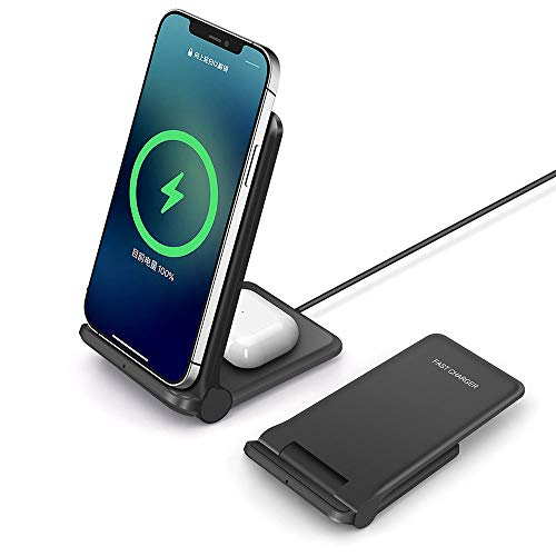 25W Wireless Charger Foldable Fast 2 in 1 Wireless Charging Station for Apple IPhone 12 11 SE X 8 Airpods,PDKUAI 15W Dual Wireless Charge Stand For Samsung Galaxy S21/S20/S10/S9/Note 20/10/Galaxy Buds