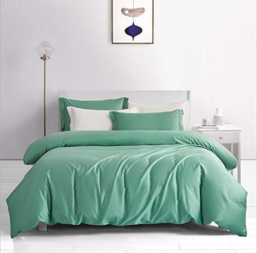 DUIPENGFEI Satin Long-Staple Cotton Pure Color Four-Piece Cotton Full Set, Bedding Duvet Cover, Water Green, King Size Duvet Cover 220 * 240Cm