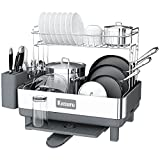 Kitsure Dish Drying Rack, 2-Layer Stainless Steel Dish Rack and Drainboard Set with Drainage, Dish Strainer for Kitchen Counter with Multipurpose Design,Large Dish Drying Rack with Easy Installation