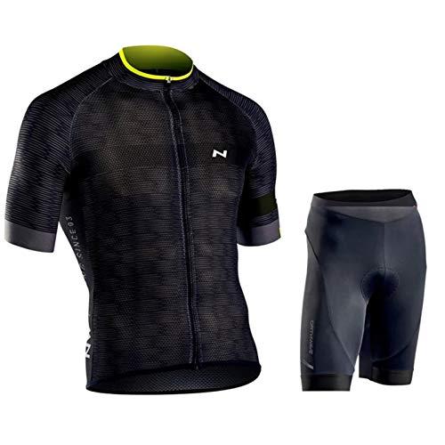 QWA Trajes de Ciclismo Hombres Jersey, Camiseta de Ciclismo de Manga Corta Secado Rápido y Transpirable + Shorts Acolchados de Gel, con Tiras Reflexivas y Silicona Antideslizante