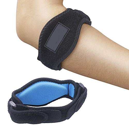 GoldTech Products Elbow Brace - Tennis Elbow Brace Support Injured Arms Effective Pain Relief with Compression Pad for Both Men and Women - 2 Packs