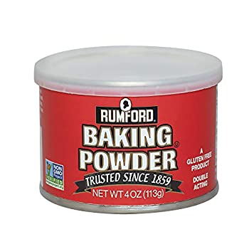 Rumford Baking Powder NON-GMO Gluten Free Vegan Vegetarian Double Acting Baking Powder in a Resealable Can with Easy Measure Lid Kosher Halal