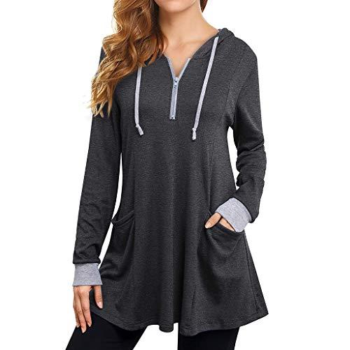 Gofodn Hoodies for Women UK Zip up Oversized Casual Loose Long Sleeve Pockets Hooded Pullover Sweatshirt Tops Gray