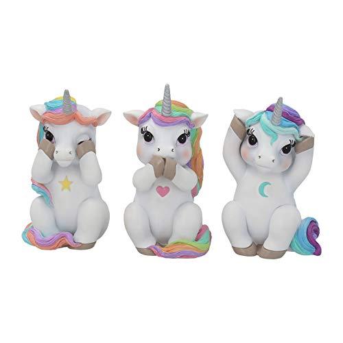 Nemesis Now Estatuilla Decorativa de Unicornios emulando a los 3 Monos sabios, Resina, Color Blanco, tamaño pequeño