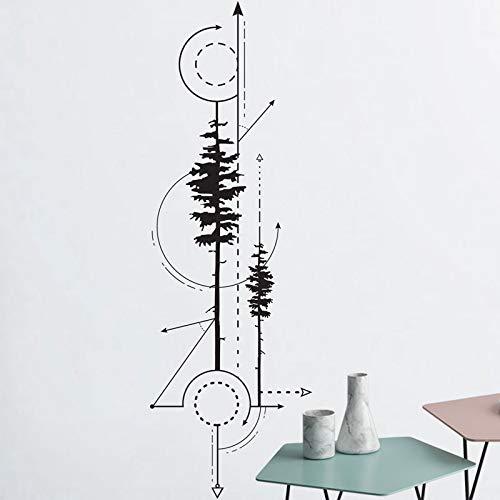 Vkjrro Técnica de calcomanía de Pino y Flecha geométrica, Pegatina de Vinilo de Dibujo, Arte de Pared geométrico, decoración del hogar, 30x95 cm