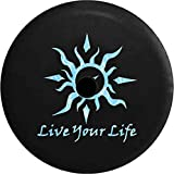 JL Spare Tire Cover Live Your Life Tribal Sun Compass Water Sealife with Backup Camera Hole Black 33 in
