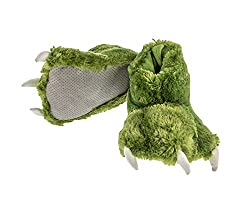 1. Lazy One Furry Dinosaur Paw Slippers