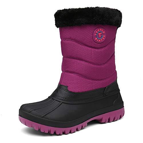 TQGOLD Botas de Nieve para Mujer Botas de Invierno Calentar Forrada Botas de Esqui Impermeables Al Aire Libre Anti Deslizante Botas de Senderismo(Rojo,41 EU)