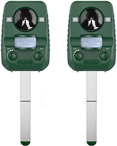 AngLink 2021 Solar Katzenschreck, 2 Pack Ultraschall abwehr mit Batteriebetrieben und Blitz Empfindlichkeit Wetterfest Hundeschreck Tiervertreiber für Katzen, IPX44 Wasserdichter, 5 Modus