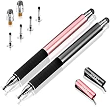 Capacitive Stylus Pen-Dinines Fine Point Stylus Touch Screen Pens for All Capacitive Cell Phones, Tablets, Laptops Bundle with 6 Replacement Tips (2 Pcs, Black/Rose Gold)
