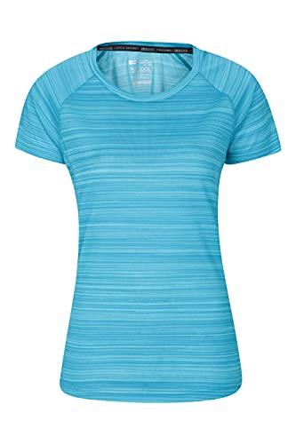 Mountain Warehouse Endurance Damen-T-Shirt - IsoCool -Damenoberteil, T-Shirt mit UV-Schutz LSF30+, atmungsaktives, feuchtigkeitsableitendes, pflegeleichtes T-Shirt, Frühling Blau 38