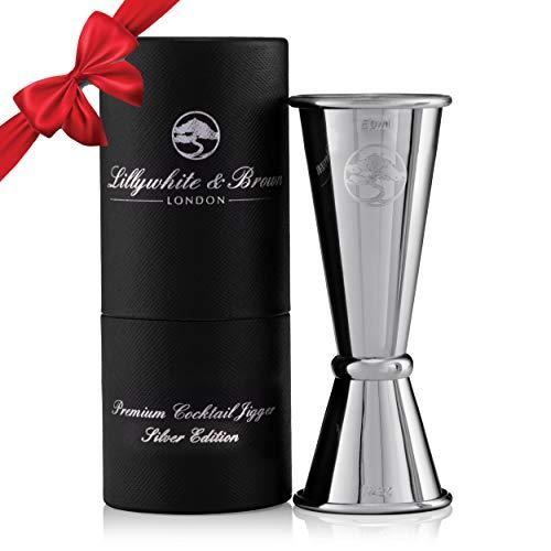 Edelstahl Jigger/Schnapsmaß Set - 25 ml, 50 ml Einzel- /Doppelmaße - Umkehrbarer Dosierbecher. Perfektes Zubehör für zum Cocktail Mischen für Gin, Whisky oder anderem Spiritus, geschenkverpackt